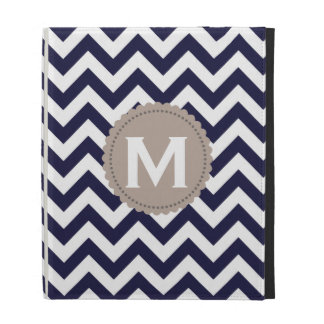 Navy Blue White Monogram Chevron Pattern iPad Cases
