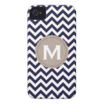 Navy Blue White Monogram Chevron Pattern Case-Mate iPhone 4 Cases