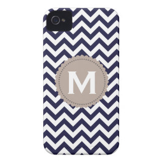Navy Blue White Monogram Chevron Pattern Case-Mate iPhone 4 Cases