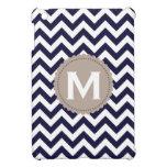 Navy Blue White Monogram Chevron Pattern Cover For The iPad Mini