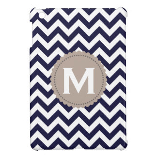 Navy Blue White Monogram Chevron Pattern iPad Mini Covers