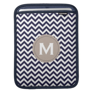 Navy Blue White Monogram Chevron Pattern iPad Sleeve