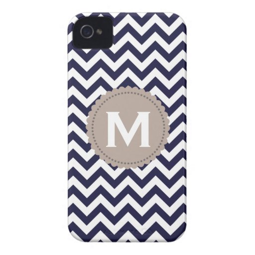 Navy Blue White Monogram Chevron Pattern iPhone 4 Cover