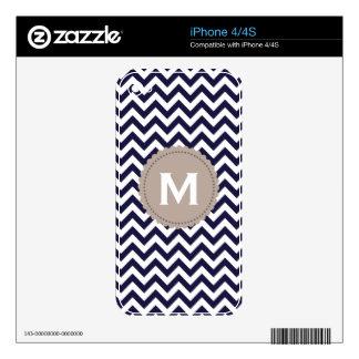 Navy Blue White Monogram Chevron Pattern iPhone 4S Skin