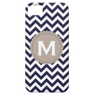 Navy Blue White Monogram Chevron Pattern iPhone SE/5/5s Case