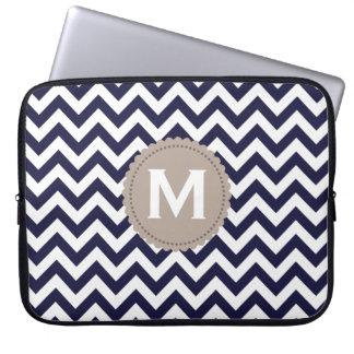 Navy Blue White Monogram Chevron Pattern Laptop Computer Sleeve