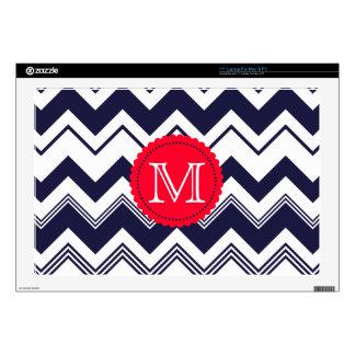 Navy Blue White Monogram Chevron Pattern Laptop Decal