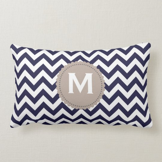 Navy Blue White Monogram Chevron Pattern Lumbar Pillow
