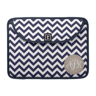 Navy Blue White Monogram Chevron Pattern MacBook Pro Sleeve