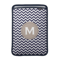 Navy Blue White Monogram Chevron Pattern MacBook Sleeve