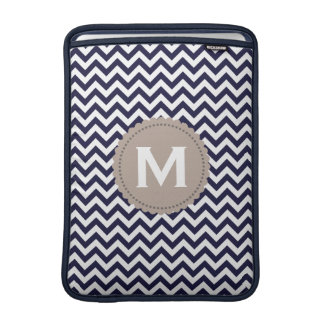 Navy Blue White Monogram Chevron Pattern MacBook Sleeve