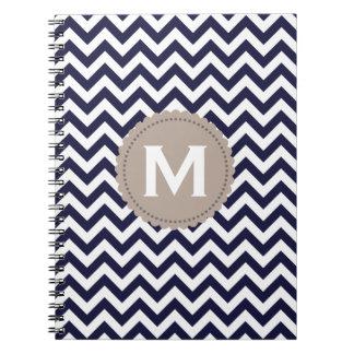 Navy Blue White Monogram Chevron Pattern Notebook