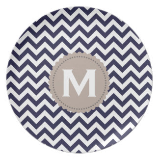 Navy Blue White Monogram Chevron Pattern Plate