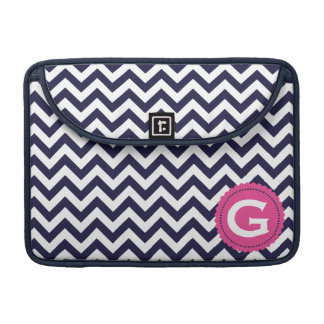 Navy Blue White Monogram Chevron Pattern Sleeve For MacBook Pro