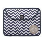 Navy Blue White Monogram Chevron Pattern Sleeves For MacBook Pro
