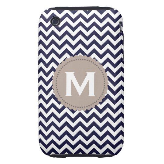 Navy Blue White Monogram Chevron Pattern Tough iPhone 3 Cover