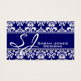 Navy Blue White Monogram Damask Business Cards