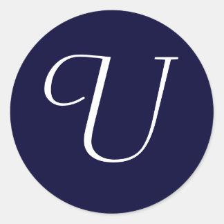 "Navy Blue & White Monogram Initial Seal ""U"""