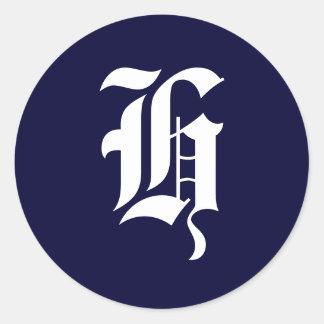 Navy Blue White Monogram Initial Seals H Round Sticker