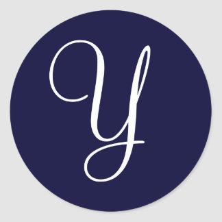 "Navy Blue & White Monogram Initial Seals ""Y"""""