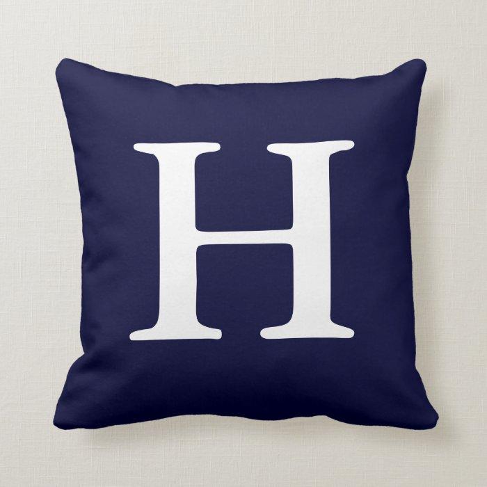navy blue white monogrammed h throw pillow
