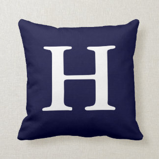 Navy Blue White Monogrammed H Throw Pillow