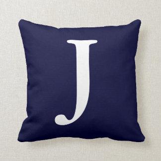 Navy Blue White Monogrammed J Throw Pillow