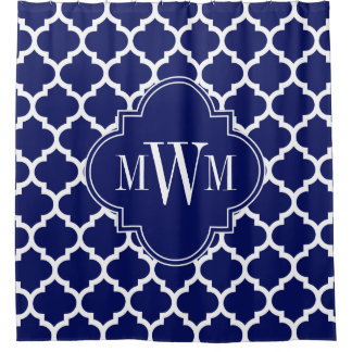 Navy Blue White Moroccan #5 Navy Blue 3I Monogram Shower Curtain