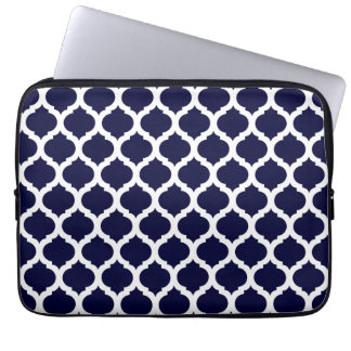Navy Blue & White Moroccan Laptop Sleeve