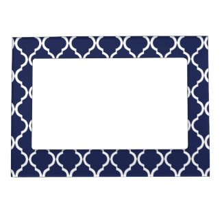Navy Blue White Moroccan Lattice Picture Frame Magnet