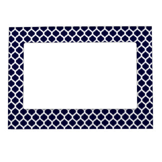 Navy Blue & White Moroccan Magnet Picture Frame Magnetic Photo Frame