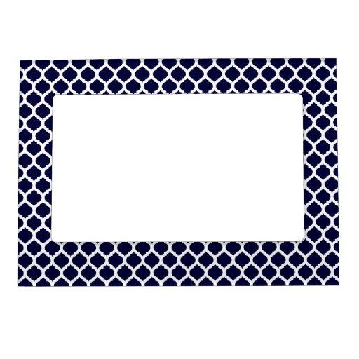 navy blue white moroccan magnet picture frame magnetic photo frame zazzle. Black Bedroom Furniture Sets. Home Design Ideas