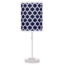 Navy Blue & White Moroccan Pattern Desk Lamp