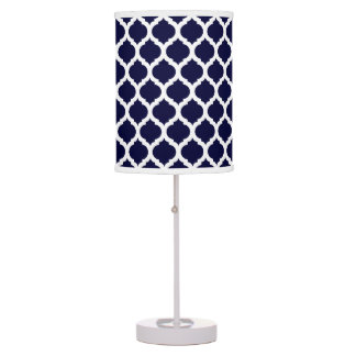 Navy Blue White Moroccan Pattern Table Lamp