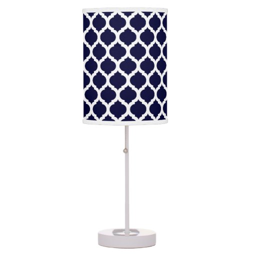 navy blue white moroccan pattern table lamp zazzle. Black Bedroom Furniture Sets. Home Design Ideas