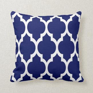 Navy Blue White Moroccan Quatrefoil Pattern #4 Pillows