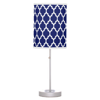 Navy Blue White Moroccan Quatrefoil Pattern #4 Table Lamp