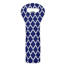 Navy Blue White Moroccan Quatrefoil Pattern #4 Neoprene Wine Totes