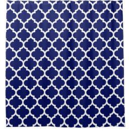 Navy Blue White Moroccan Quatrefoil Pattern #5