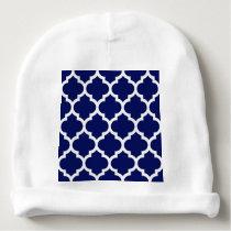 Navy Blue White Moroccan Quatrefoil Pattern #5 Baby Beanie