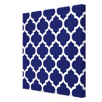 Navy Blue White Moroccan Quatrefoil Pattern #5 Canvas Print