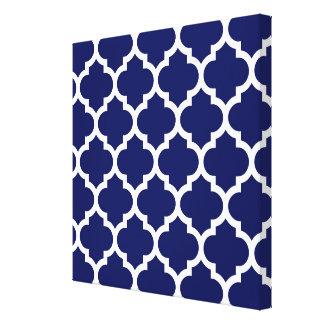 Navy Blue White Moroccan Quatrefoil Pattern #5 Canvas Print