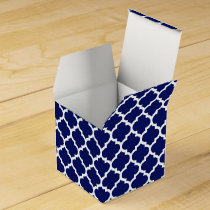 Navy Blue White Moroccan Quatrefoil Pattern #5 Favor Box