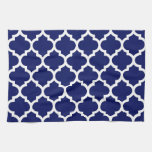 Navy Blue White Moroccan Quatrefoil Pattern #5 Hand Towel