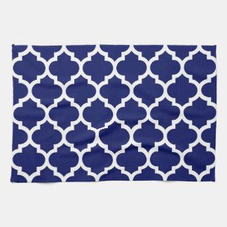 Navy Blue White Moroccan Quatrefoil Pattern #5 Hand Towel
