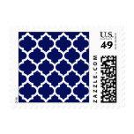 Navy Blue White Moroccan Quatrefoil Pattern #5 Stamp