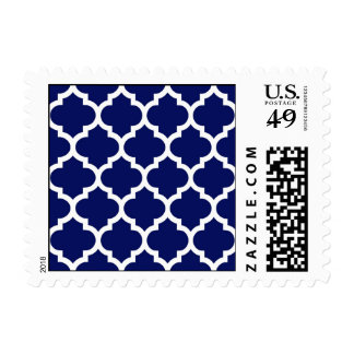 Navy Blue White Moroccan Quatrefoil Pattern #5 Postage Stamp