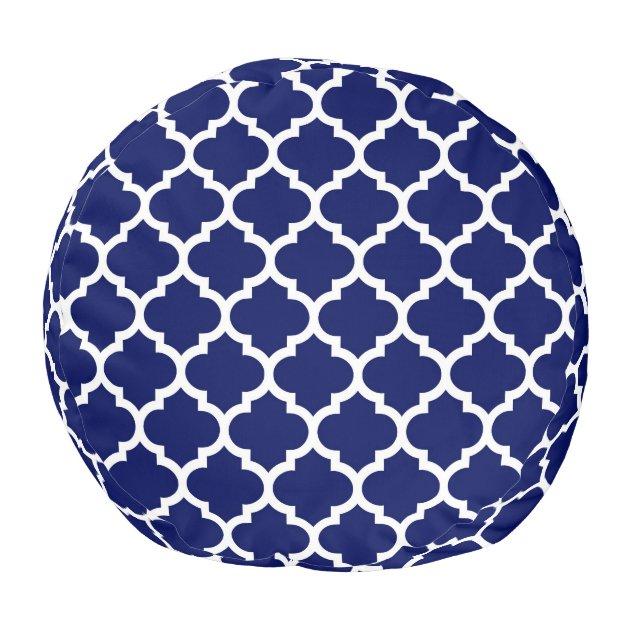 Navy Blue White Moroccan Quatrefoil Pattern 5 Pouf Zazzle