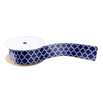 Navy Blue White Moroccan Quatrefoil Pattern #5 Satin Ribbon