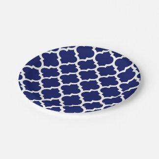 Navy Blue White Moroccan Quatrefoil Pattern #5 7 Inch Paper Plate